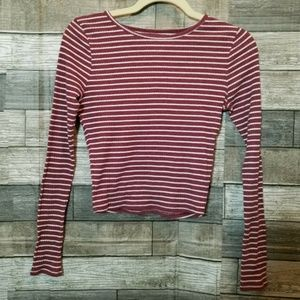 Hollister small cropped top long sleeve shirt red